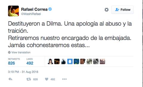 CORREA SABE: O GOLPE NO BRASIL AMEAÇA CADA PAÍS NA AMÉRICA LATINA
