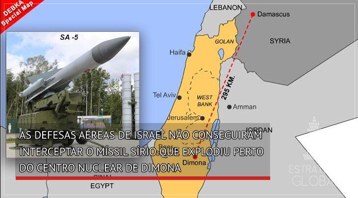 As defesas aéreas de Israel não conseguiram interceptar o míssil sírio que explodiu perto do centro nuclear de Dimona