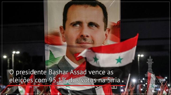 O presidente Bashar Assad vence as eleições com 95,1% dos votos na Síria