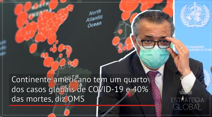 Continente americano tem um quarto dos casos globais de COVID-19 e 40% das mortes, diz OMS